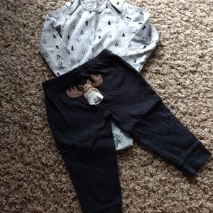 Carter's Moose Long Sleeved Onesie and Moose Pants